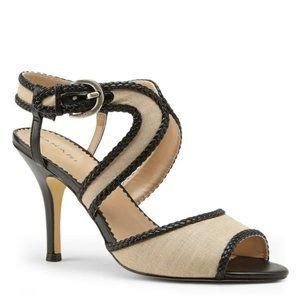 """Tahari """"Lima"""" Tan/Black Open Toe Dress Sandal 6.5M"""